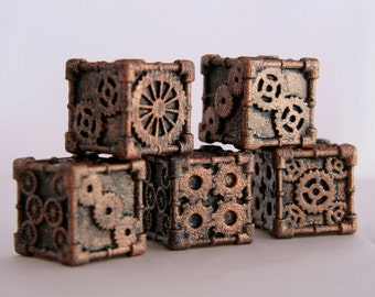 Dice (1 Die) - Steampunk Style, Bronze Finish, Resin Cast, 3D Printed