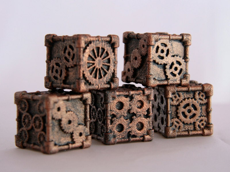 Dice 1 Die 3d Printed Steampunk Style Bronze Finish