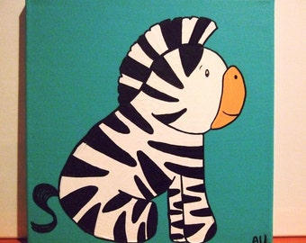 Rock and Roll Baby Zebra Children's Original Acrylic Animal Painting on Canvas, Nursery Room Art