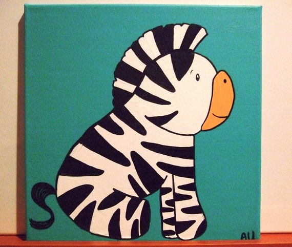 Items similar to rock and roll baby zebra children 39 s for Canvas roll for painting