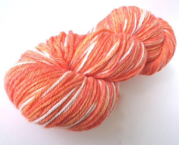 """Yarn, hand dyed worsted wool blend in """"Ghost Shrimp"""""""