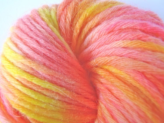 """Hot pink yarn, Handpainted worsted merino wool in """"Orange Cup Coral"""""""