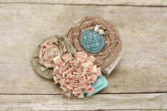 Vintage Wrist Corsage or Hair Clip.  Laura Ashley Inspired Fabrics.