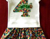 Very Hungry Caterpillar themed Birthday outfit-- 3T/4T-- made to order
