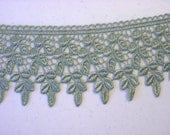 """Gorgeous 3.5"""" Wide Venice Lace Trim in Sage Green (1 yd)"""