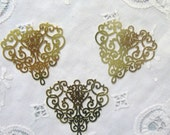"Plated Brass Filigree Jewelry Finding ""laser lace"" in Bright Gold (2)"