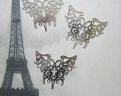 Laser Lace Plated Brass Filigree Component, 43 x 41mm, Bright Silver (3)