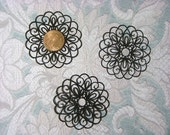 "50mm Black Plated Brass ""Laser Lace""  Filigree Component (2)"
