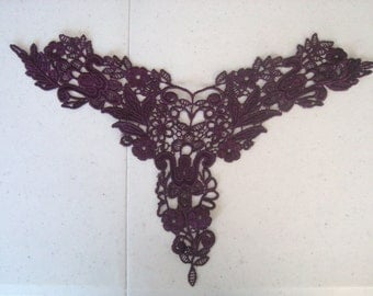 Large Rayon Burgundy Venice Lace Yoke, Costume, Jewelry Design, Etc.
