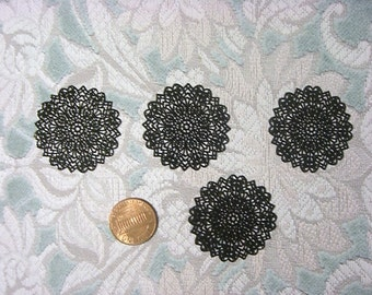 SALE - Laser Lace Filigree Brass Jewelry/Craft Component, 35mm, Plated Black (3)