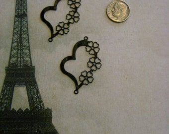 Laser Lace Filigree Heart Shaped Findings, Black, Silver or Gold Plated (2)