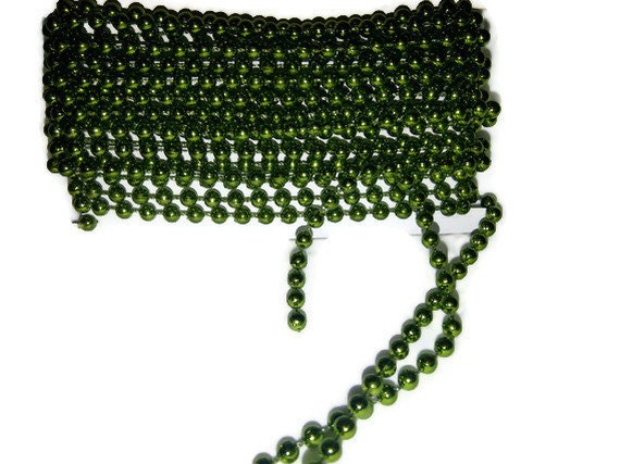 Green pearl string 4mm, destash, supplies