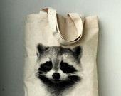 Raccoon tote bag - raccoon screenprinted on nutural cotton canvas tote bag.