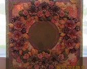 Scrapbooking Floral Wreath Mixed Media Art 12 x 12 Layout (Framing) All pages are on SALE at Half Off. Was 35.00 and now 17.50.