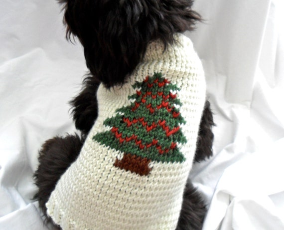 Small christmas dog sweater hand knit christmas tree green - Knitting for dogs sweaters ...