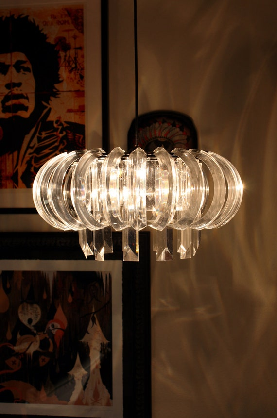 Regency Glam Lucite Crystal Chandelier - Upcycled MFEO Design