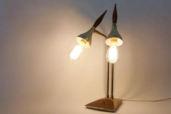 Mid Century Brass & Teak Table Lamp