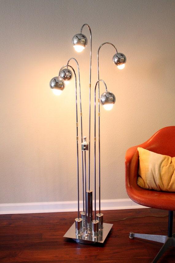 RESERVED  Mid-Century Chrome Eyeball Globe Floor Lamp