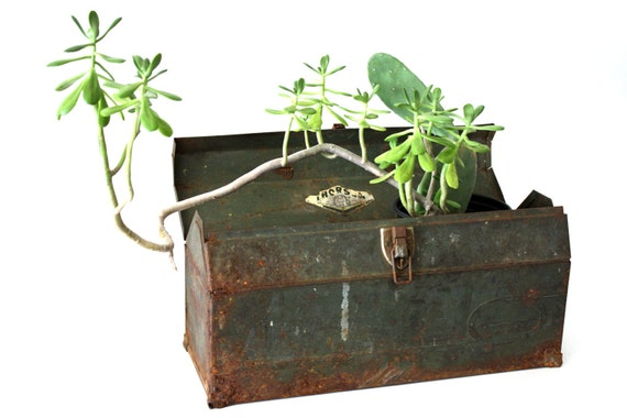 Vintage Green Industrial Toolbox - storage, planter, industry, farm fresh, tool box, vintage, rusted, rusty, weathered
