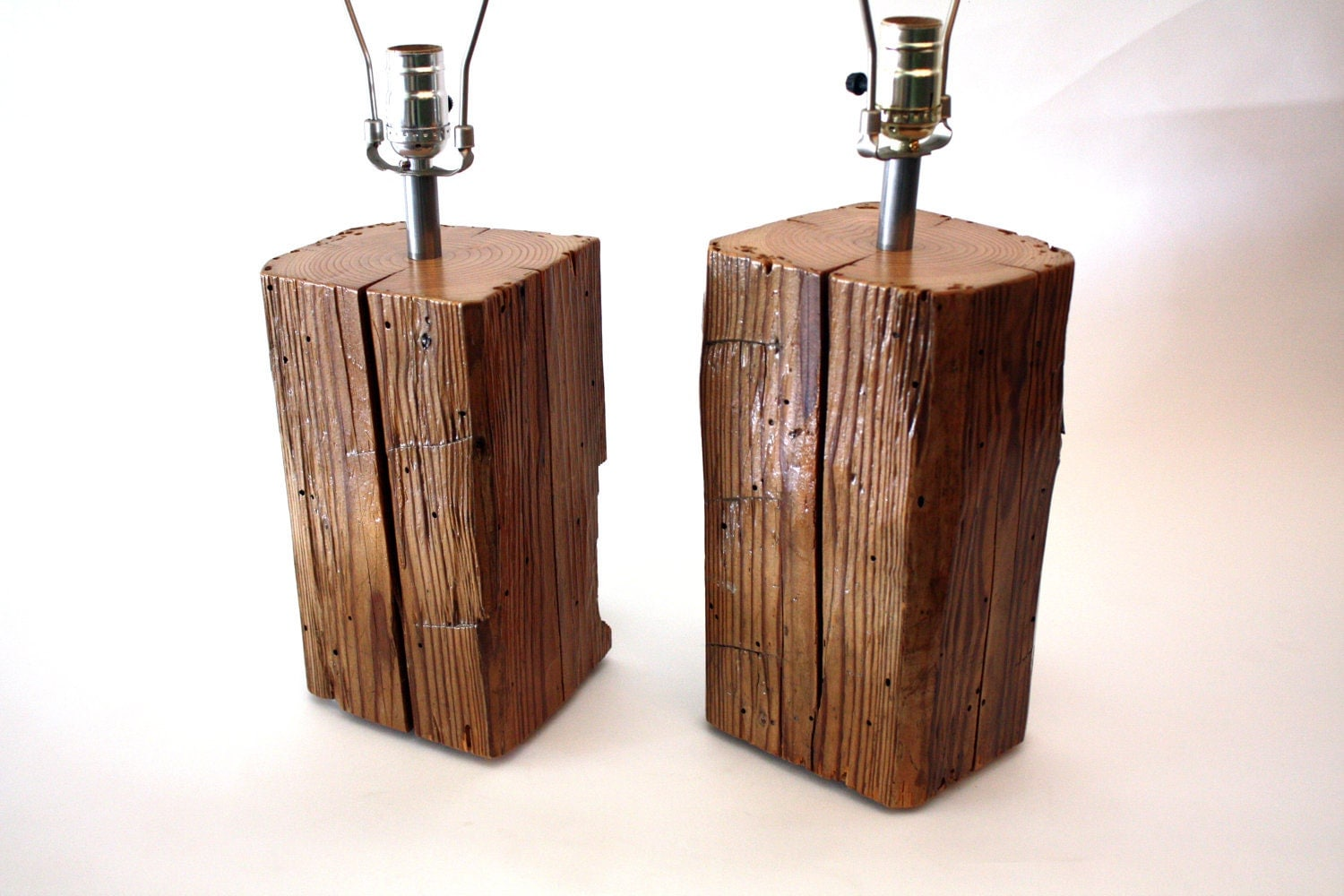 Pair Of Reclaimed Barn Wood Lamp HandREcrafted MFEO Design