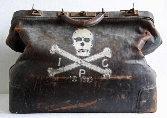 R I P  Antique 1930s Large Doctors Death Bag Skull And Crossbones