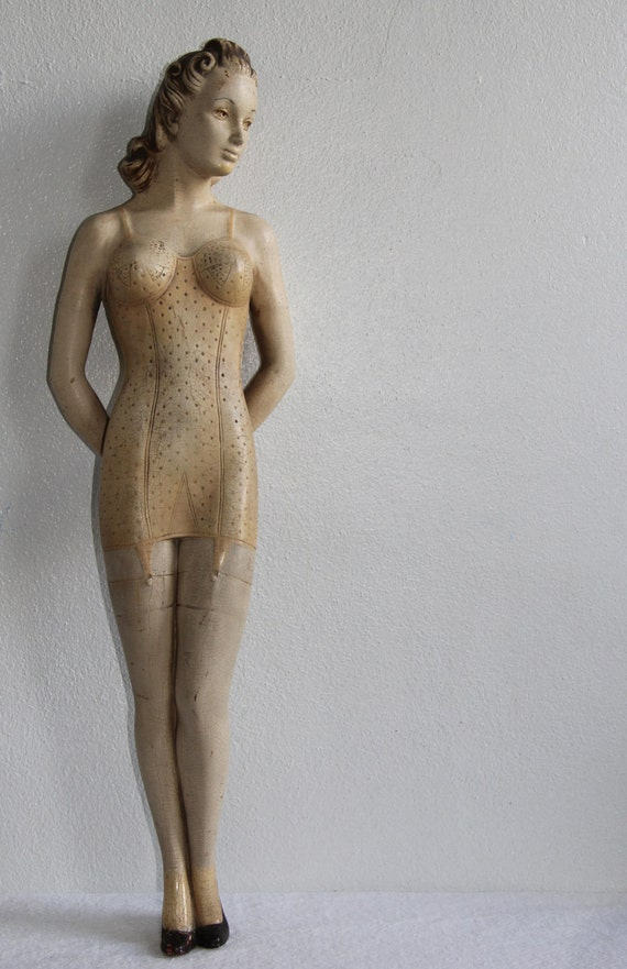 Reserved for Jerry... Do not buy..  Rare 1930s Counter Top Display Mannequin Lingerie Nude Doll Model Exquisite Composition Deco Corset