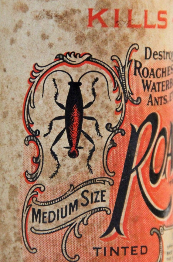 Antique Barretts Roachsault Insect Poison Powder Paper Can Label Roach Water Bug Ants Insecticide Death Household Chemicals