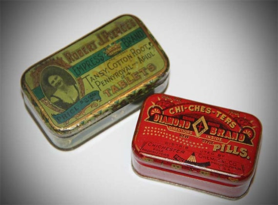 Antique Female Tins Chichesters Diamond Brand Robert J Pierces Pennyroyal Tansy
