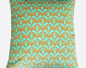 CLEARANCE SALE!!!  Tangerine and aqua geometric decorative pillow cover