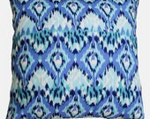 CLEARANCE SALE!!!! Blue, Aqua and White Ikat Pillow Cover - 18 x 18 Decorative Pillow Cover