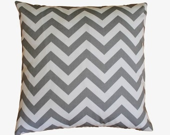 "Gray Chevron Zig Zag Pillow Cover - 18"" x 18"" Decorative Pillow Cover"