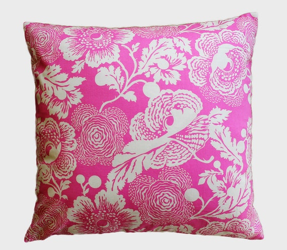 """Pink Poppies Vintage Floral Pillow Cover - 18"""" x 18"""" Decorative Pillow Cover"""
