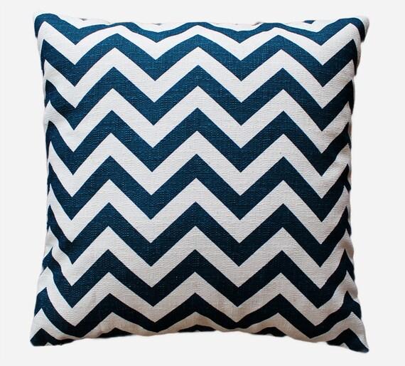 "Aqua / Teal Chevron Zig Zag Pillow Cover - 18"" x 18"" Decorative Pillow Cover"