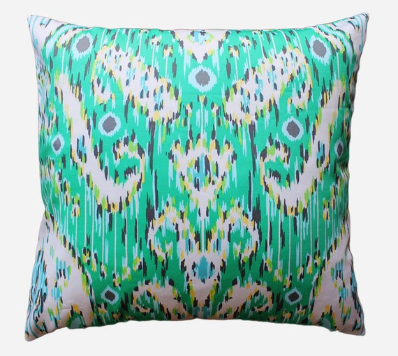 Green, White and Gray Ikat Pillow Cover - 18 x 18 Decorative Pillow Cover