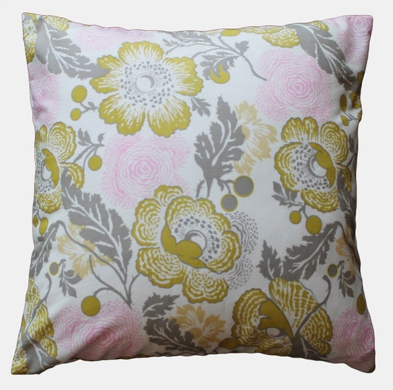 "Pink & Gray Poppies Vintage Floral Pillow Cover - 18"" x 18"" Decorative Pillow Cover"