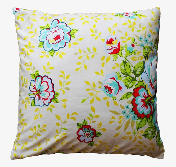 Yellow and Turquoise Floral Pillow Cover - 18 x 18 Decorative Pillow Cover