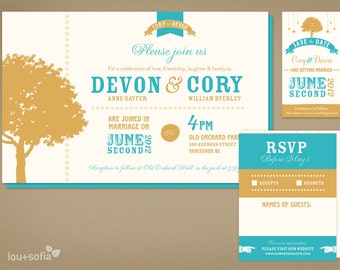 Custom Wedding Invitation & Save The Date Set - Vintage Teal/Gold Tree (Printable Anywhere) - Invitation, RSVP, Save the Date Card or Magnet