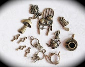 Alice In Wonderland Theme lot of 14 antique bronze charms