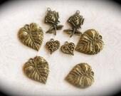 My Secret Rose Garden collection - set of antique bronze charms