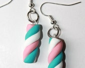White, Pink and Blue Marshmallow Earrings