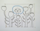 Happiness is being in a field of poppies. Wire doodle wall hanging or mobile.