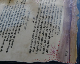 pregnancy hebrew prayers- parchment paper hand painted and laminated.