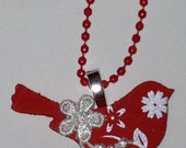 Red robin necklace with lace detail