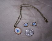 Rainbow peace sign pendant and matching earrings