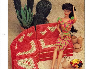 Three-Piece Sectional: Barbie Furniture Plastic Canvas Pattern Annies Attic 16-P-6
