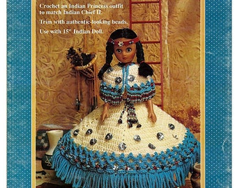 Indian Princess II Crochet Indian Doll Pattern Fibre Craft  FCM355
