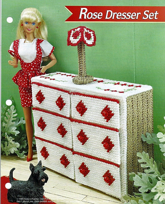 Barbie Doll Furniture Plastic Canvas Pattern Rose Dresser Set