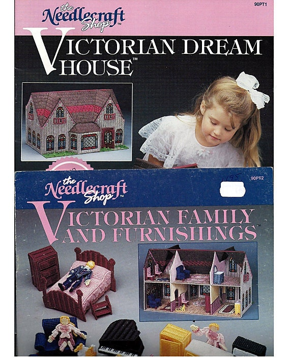 2 PLASTIC CANVAS PATTERNS Books - Victorian Dream House & Victorian Family and Furnishings