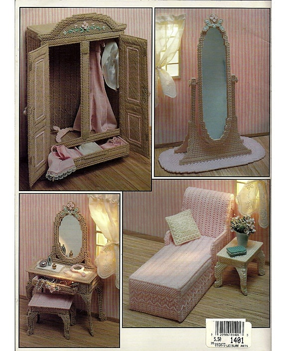 The Boudoir In Plastic Canvas Pattern Book Fashion Doll Playhouse Book 3 Leisure Arts 1401
