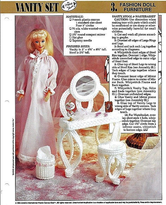 Vanity Set Barbie Furniture Plastic Canvas Pattern Annies